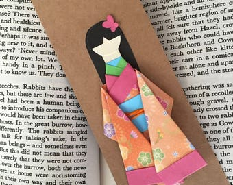 Origami Paper Geisha Kimono Doll Bookmark