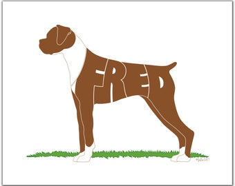 """Personalized Uncropped Fawn Boxer with Distinct Markings 7"""" x 5"""" (or larger) Personalized Gift, Name Art, Boxer Portrait, Silhouette"""