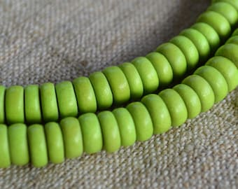 Wood Beads Rondelle Lime Green 8x4mm Flat Disc Round Coin 16x2 Inches Strand