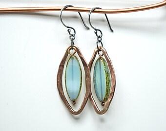 Beaded Earrings, Green Earrings, Boho Earrings, Long Earrings, Bronze Earrings, Tribal Earrings, Unique Earrings, bronze green earrings