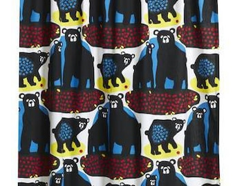 Curtain panel white yellow black blue Bear red Berries Modern Decor Cafe curtain Kitchen valance , runner , napkins available, great GIFT