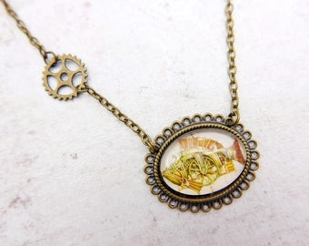 Steampunk Necklace, Fish Necklace, Steampunk Fish jewelry, 1825C