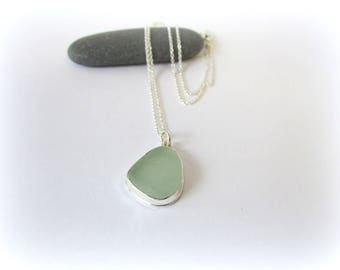 Sea glass necklace. Sterling silver necklace. Simple sea glass necklace. Maine jewelry. Seaglass pendant. Sea glass jewelry. Beach glass.