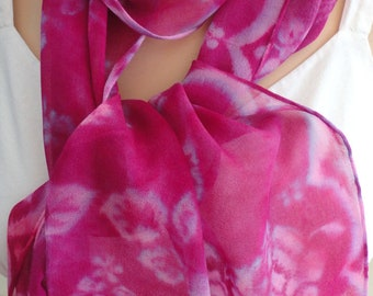 Silk scarf chiffon hand painted extra long unique  wearable art women Pink Burgundy Roses shawl wrap