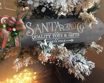 Santa and co holiday sign