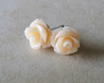 Peach, Apricot Carved Rose Silver Plated Studs