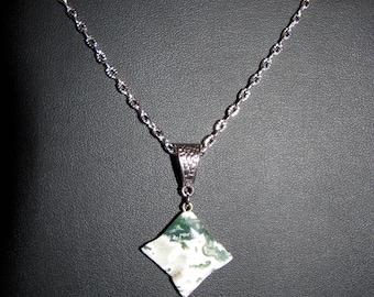 MOSS Agate gemstone pendant 4 point star.