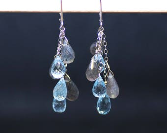 Natural Blue Topaz and Labradorite Earrings Solid 14K White Gold , 4th Anniversary , Lever Back Hinges , December Birthstone