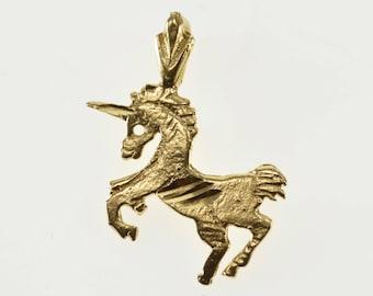14K Diamond Cut Patterned Unicorn Mystical Creature Pendant Yellow Gold
