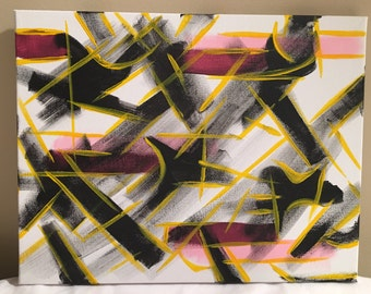 Black, white, yellow & pink,  abstract acrylic painting, 11x14