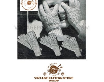 Childrens 1940s ribbed gloves on 2 needles - 3 sizes - Vintage PDF Knitting Pattern 45