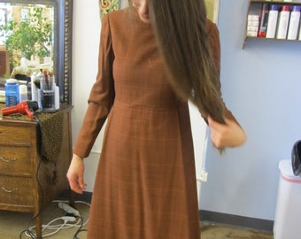 Beautiful Vintage Rust Red Long Sleeve Dress