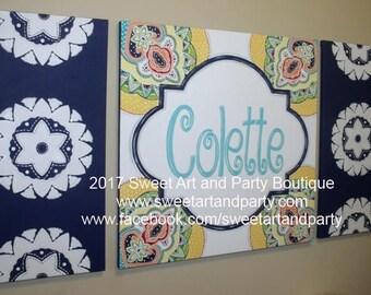 Paisley, Penelope, Girls Wall Art, Personalized, Canvas name sign, 3 painting set, Navy Blue, Medallion, Monogram art, Art for Girls Room