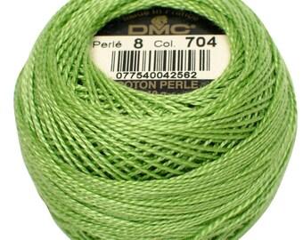 DMC 704 Pearl Cotton Thread | Size 8 | Bright Chartreuse