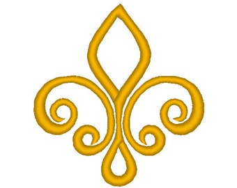 Fleur de lis swirl design, many mini sizes (.pes .hus .dst .vp3 .vip .xxx .exp .jef)  - embroidery fillstitch embroidery design