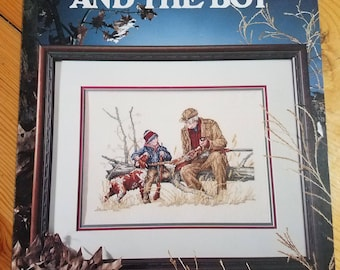 Grandpa and the Boy, counted cross stitch pattern leaflet  2114, vintage, by Alice Taylor, leisure arts