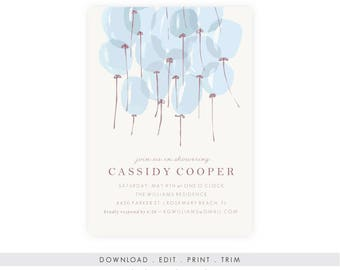 Baby Boy Shower Invitation | Blue Baby Shower Invitation, Baby Shower Template, Baby Shower Printable, Diaper Raffle, Book Request, PDF
