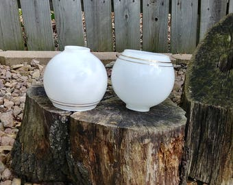 Pair Art Deco Globe with Gold Stripe Bathroom Wall Sconce Porch Light Fixture Shade