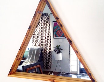Medium Triangle Mirror - Reclaimed Wood