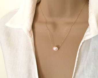 Gold Single Pearl Necklace Delicate Freshwater Pearl Necklace Floating Pearl Solitaire Necklace Single Pearl Bridesmaid Necklace Gold Fill