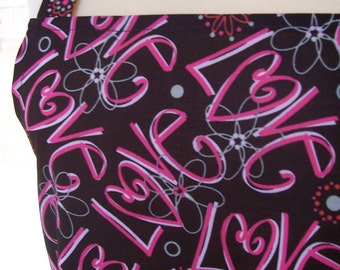 Women's Full Apron, Modern Love Apron, Kitchen Apron, Bib Apron, Pocket Apron, Graffiti Style Apron, Love Apron, St Valentine's Day