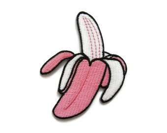 Banana Embroidered Applique Iron on Patch 6.5 cm. x 8 cm.