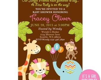 Safari Girl Baby Shower Printable Invitation - Jungle Baby shower invites - Zoo animals baby shower - Elephant,monkey,giraffe
