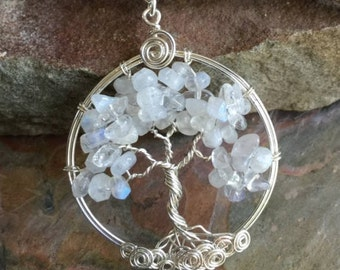 Moonstone Tree of Life Necklacd, Tree of Life Pendant Sterling Silver,wire Wrapped Gemstone Tree of life- June Birthstone,Moonstone Necklace