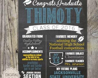 Graduation poster - high school graduation chalkboard sign - printable graduation gift - blue yellow chalkboard highshool graduation sign