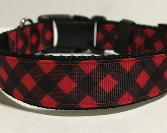 Plaid Dog Collar - Adjustable Dog Collar - Red and Black Plaid - Buffalo Plaid