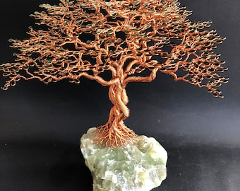 Tree of life TRIPLE trunk on green CALCITE