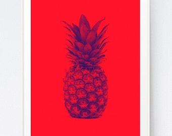 Blue Red Pineapple, Pineapple Print, Pineapple Decor, Pineapple Art Print, Tropical Fruit Pineapple Pop Art Design, INSTANT DOWNLOAD