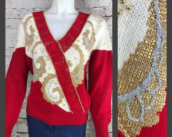 Womens 80's Sweater Dana Scott Sparkly Red and Gold Beaded Women's Sweater - Size Large - Womens Vintage Clothing - Paisley