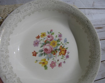 Round Floral Gold Rim Serving Bowl~ National Brotherhood of Operative Potters Vintage~ Rose Glory 22-K- Gold Bowl-Pink Orange Red Floral