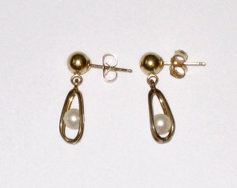 14K Gold Post 5mm Ball Dangle Earrings With Floating Caged Pearls / 14K Backs / FREE Us Shipping
