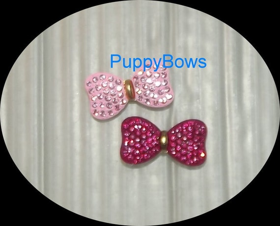 Puppy Bows ~TINY  PINK bowknot rhinestones dog bow  pet hair clip barrette