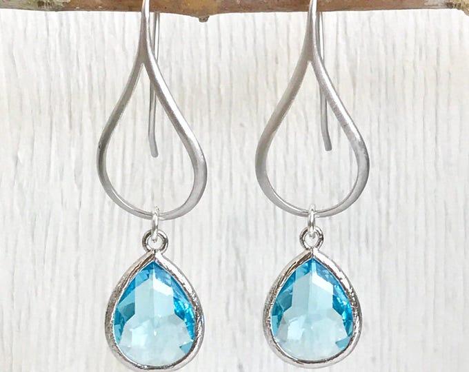 Drop Earrings.  Aquamarine Teardrop Drop Earrings in Silver.  Blue Dangle Earrings. Jewelry. Gift for Her.  Drop Earrings. Christmas Gift.