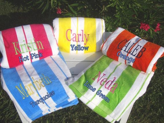 Beach Wedding Bridesmaid Gifts: Monogrammed Beach Towel Or Pool Towel Bridesmaid Gift
