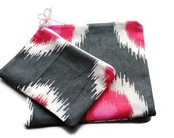 Reusable Sandwich and Snack Bags Set of 2 Gray Pink White Cotton Twill Zipper