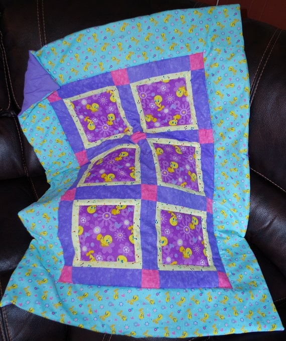 Tweety Bird Purple Blue Fowers Handmade Patchwork Baby Quilt Blanket