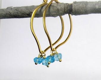 Blue Topaz Hoop Earrings,  medium size, gold Vermeil, genuine gemstones, brushed finish, Ready to Ship
