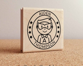 Personalized Boy Superhero Rubber Stamp - Choose Name, Hairstyle and Accessories