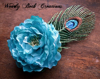 Bright Turquoise Peony and Faux Peacock Feather Hair Clip Fascinator - Wedding, Vegan, ATS, Tribal, Fusion, Belly Dance, Poppy, Blue