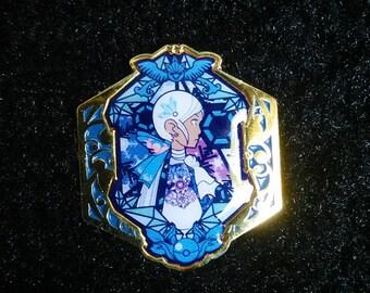 Pokemon Go Team Mystic Rococo Baroque Art Nouveau Inspired Gold Lapel Pin Badge  1.5in Blanche Articuno Blue Team