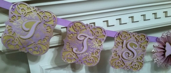 Baby Shower Banner, Lavender, Gold, Baby Shower Decoration, It's A Girl Banner