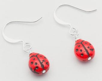 Red Ladybug Earrings, Silver Plated, Ladybug Earrings, Small - EA00417