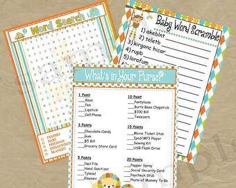 Jungle Baby Shower Game Pack - Instant Download