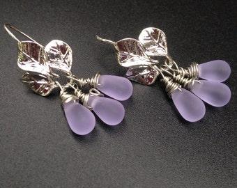 Leaf Earrings Lavender Earrings Silver and lilac  Dangles Czech teardrops Minimalist Jewelry