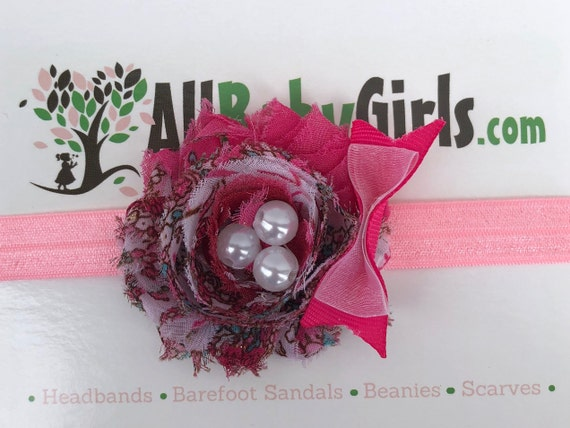 Pink Headband, Baby Headband, Flower Headband, Infant Headbands, Pink Headpiece, Newborn Headband, Pink Flower Headband, Flower and Bow