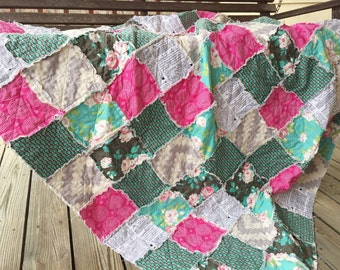 Quilt, king queen full twin, Rag Quilt, YOU CHOOSE SIZE, Half Hope fabrics, pink gray and turquoise, comfy cozy handmade bedding, sham